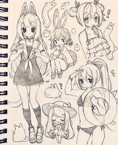 Cute Sketches, Art Drawings Sketches Simple, Kawaii Drawings, Cool Drawings, Anime Character Drawing, Character Art, Arte Sketchbook, Art Inspiration Drawing, Cartoon Art Styles