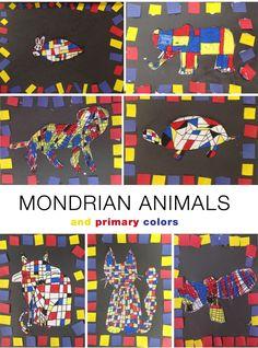 Mondrian Animals in primary colors – ArTree Piet Mondrian, Mondrian Kunst, Art Lessons For Kids, Art Lessons Elementary, Art For Kids, Mondrian Art Projects, Primary And Secondary Colors, Artist Project, Principles Of Art