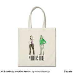 Shop Williamsburg, Brooklyn New York NYC Hipster Tote created by rebeccaheartsny. New York Illustration, Hipster Illustration, Brooklyn New York, Glow Sticks, Design Your Own, Williamsburg Brooklyn, Reusable Tote Bags, Artwork, Budget
