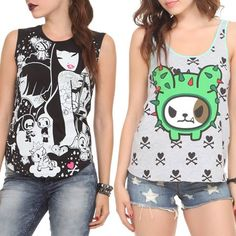Photo: Check out these tops exclusive at Hot Topic! http://www.hottopic.com/hottopic/Girls/Features/Tokidoki.jsp