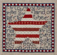 counted cross stitch pattern : land of liberty miles to go flag day memorial day independence day 4th of july diy