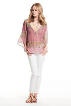 Enjoy 20% off when you donate to Calypso Cares. Entisse Block Printed Silk Blouse.