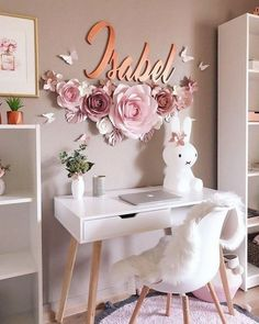 39 fabulous pink girls bedroom ideas to realize their dreamy space 15 - Oriel D. 39 fabulous pink girls bedroom ideas to realize their dreamy space 15 - Oriel D. 39 fabulous pink girls bedroom ideas to realize their dreamy space 15 - Large Paper Flowers, Paper Flower Wall, Flower Wall Decor, Wall Flowers, Butterfly Wall Decor, Flower Backdrop, Flowers Decoration, Pink Bedroom For Girls, Little Girl Rooms