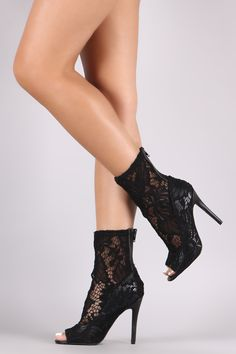 8b95d4cfbca Qupid Floral Lace Peep Toe Stiletto Booties