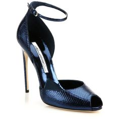 Brian Atwood Oriana Snakeskin Peep-Toe Sandals (1,210 CAD) ❤ liked on Polyvore featuring shoes, sandals, apparel & accessories, blue, ankle strap sandals, peep toe sandals, blue sandals, peep-toe shoes and ankle wrap sandals