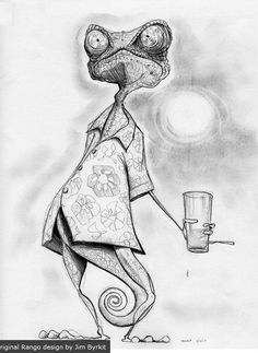 Rango character and storyboard art by Jim Byrkit.
