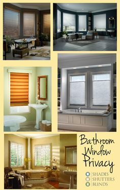 Best Shades, Shutters and Blinds for Bathroom Window Privacy - Blinds For Bathroom Windows, Window Shutter Blinds, Window Blinds & Shades, Privacy Shades, Curtains With Blinds, Window Privacy, Window Shutters, Honeycomb Shades, Custom Blinds