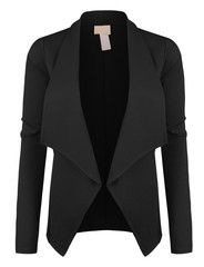 LE3NO Womens Lightweight Open Front Draped Tuxedo Blazer Jacket | LE3NO