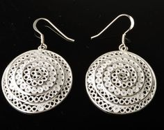 925 Sterling Silver Filigree Contemporary Round Earring, Sterling Silver Earring #fashion #handmade