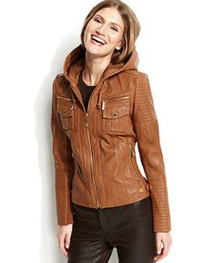 OMG I need this in my life! --- MICHAEL Michael Kors Hooded Leather Jacket - CLEARANCE & CLOSEOUT - Sale - Macy's