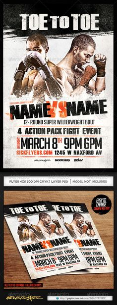 Boxing Flyer Template PSD  #Game Night #kickboxing • Click here to download ! http://graphicriver.net/item/boxing-flyer-template-psd/7001530?ref=pxcr