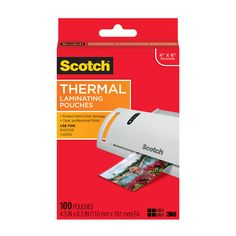 Scotch Thermal Laminating Pouches, 4 x 6-Inches, Photo Size, 100-Pouches (TP5900-100)