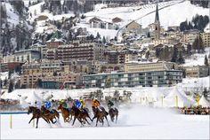 Horse snow race in St. Moritz, Switzerland