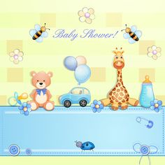 Free:  Cute toy with baby card vector 02