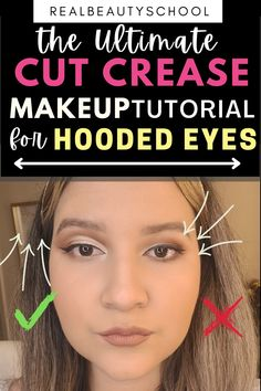 Eyeliner On Hooded Eyes, Eyemakeup For Hooded Eyes, Make Up Hooded Eyes, Cut Crease Hooded Eyes, Cut Crease Eyeshadow, Cut Crease Makeup, Makeup Tips And Tricks, Eye Makeup Tips, Smokey Eye Makeup