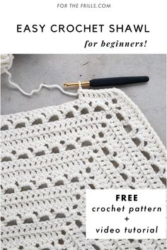 Free pattern - Easy Lace Crochet Wrap + video tutorial - Welcome to our website, We hope you are satisfied with the content we offer. One Skein Crochet, Crochet Shawl Free, Crochet Shawls And Wraps, Crochet Scarves, Doilies Crochet, Crotchet, Crochet Triangle, Knitting Patterns, Simple Crochet Patterns
