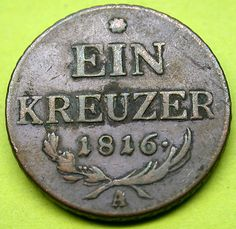1816 AUSTRIA 1 Kreuzer Coin in Terrific Shape RARE! Gold Money, Rare Coins, Goods And Services, Coin Collecting, Austria, Shape, Personalized Items, Awesome, Kids