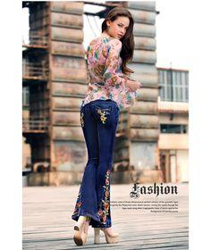 nuevo estilo de moda para mujer botas de corte 2013 primavera jeans femeninos pantalones de mezclilla azul con bordados campana inferior pantalones jean en Jeans de Moda y Complementos en AliExpress.com | Alibaba Group