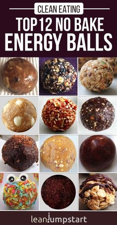No bake energy balls: Top 12 amazing clean eating bites, quick and easy - These top 12 no bake energy balls are clean, plant based bites and still as yummy as truffles witho - No Bake Energy Bites, Peanut Butter Energy Bites, Oatmeal Energy Bites, Energy Bars, Quick Healthy Snacks, Healthy Baking, Healthy Movie Snacks, Healthy Breakfasts, Quick Vegan Breakfast