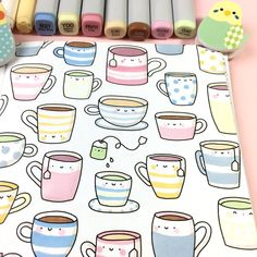 Tea Time Doodle 🍵☺️☕️ from my new Foodies & Cuties Coloring Book! It's nice to have a relaxing cup of tea while you color these happy little mug cuties 😉🍵🎨😌 Doodles Kawaii, Cute Kawaii Drawings, Cute Doodles, Doodle Drawings, Doodle Art, Coffee Doodle, Planner Doodles, Doodle Books, Animal Doodles