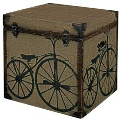 canvas chest with cycle print allissias attic vintage french style bar trunk furniture