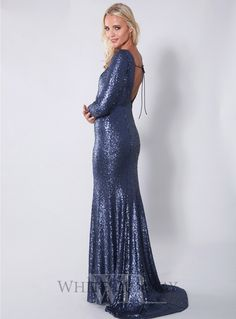 Long Sleeve Sequinned Dress. A show-stopping full length gown by Jadore. Features a high round neckline, full-length sleeves and a deep v-neck back with tie-up detai