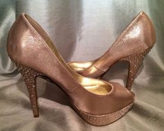 "Mariah Carey Gold Sparkling Studded Platform Open Toe Shoes Pumps 5"" Heels 7M #MariahCarey #PlatformsWedge #Opentoe #Gold #Pumps"