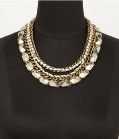 THREAD WRAPPED CHAIN, BEAD AND STUD NECKLACE | Express