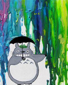 Totoro - sotto la pioggia 2a edizione Art Print - arcobaleno - Neon colori - pastello fuso - ombrello