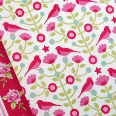 Tilda Christmas raspberry pink folklore bird flower tree quilting craft fabric | eBay