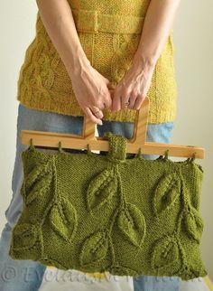 A Walk Among Trees - designer handknit leafy handbag with wooden handles by EveldasNeverland, $266.00