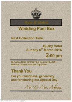 Personalised Royal Mail Post Box Wedding Card RUSTIC