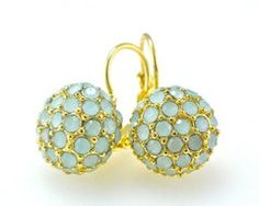 Regina Pierallini Jewelry...  Light Blue Pave Beaded Gold Petite Drop Earrings. Just got these in the mail... real pretty but the beads were very light, closer to white with just a very tiny hint of blue... oh well