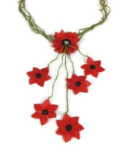 Red Crochet Necklace Flower Necklace Turkish Needle by Nakkashe, $45.00