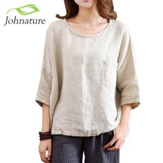 861d664e1c Johnature 2017 Spring New Women T-Shirts Original Half Sleeve Cotton Linen  O-Neck