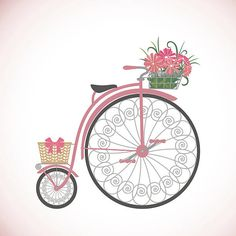 Retro Bicycle in flat style with basket. vector art illustration