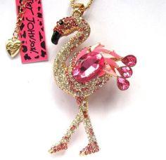 Betsey-Johnson-shiny-pink-crystal-vivid-flamingos-pendant-Necklace-546L-F