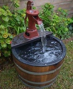 Water Fountain Wine Barrel Yard Patio Garden Rustic Handmade with Electric Pump Our Products All of our products are made in California on the picturesque Central Coast. We buy recently retired oak wine barrels and repurpose them into handcra. Backyard Water Fountains, Backyard Water Feature, Garden Fountains, Outdoor Fountains, Wine Barrel Water Feature, Patio Water Fountain, Wall Fountains, Water Fountain Design, Diy Fountain