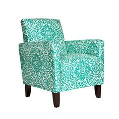 Modern Damask Turquoise Blue Arm Chair | Overstock.com