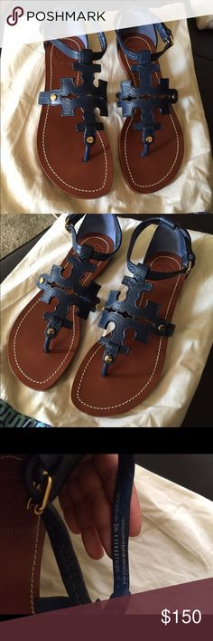 Tory Burch sandals Brand new. Box got damaged while moving so I threw it away. Shoes are in perfect condition. Navy in color. Size 6.5. True to size I would say Tory Burch Shoes