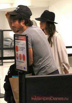 Nikki Reed and Ian Somerhalder at LAX on way to Atlanta for start of TVD Season 8 Prep