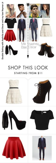 """Double Dating with @aashritajr and Oscar Emboaba and my bae Neymar Jr"" by louisadidas ❤ liked on Polyvore featuring BCBGMAXAZRIA, Charlotte Russe, Shoe Republic LA, Preen and Burberry"