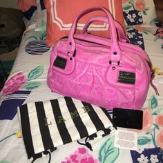 L.A.M.B. Fuchsia Bag (open to offers) % authentic! Used. Make your best offer! Comes with dust bag. Price is negotiable! L.A.M.B. Bags