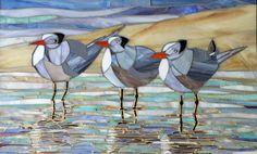 Mosaic Art - Three Royal Terns Mosaic -