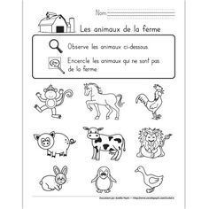 Find the intruders, farm animals - animals Farm Animal Crafts, Farm Animals, Web Animal, Amelie Pepin, Fun Facts About Animals, Farm Kids, Core French, Free In French, French Classroom