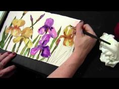 Watercolor Demonstration, Purple and Yellow Iris Flowers