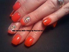 Bringn in summer with bright orange & handpainted flowers