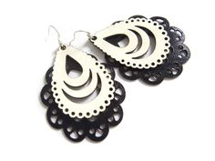 Laser cut leather earrings  filigree design in by EmilydeMolly, $27.00