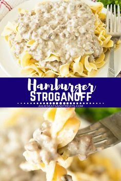 This Easy Hamburger Stroganoff recipe is a great dinner idea for busy families! Ground Beef Stroganoff is always a comfort food favorite for an easy weeknight meal. This Easy Hamburger Stroganoff recipe is a great din Ground Beef Stroganoff, Easy Hamburger Stroganoff Recipe, Dinner Ideas Hamburger Meat, Hamburger Meat Recipes Easy, Ground Beef Recipes, Beste Brownies, Easy Weeknight Meals, Quick Meals, Cooking Recipes
