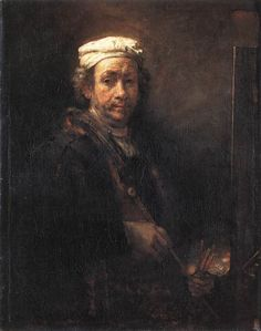 Rembrandt Self Portrait, Musee du Louvre. Rembrandt depicts himself as an artist, wearing his artist's cap, standing in front of an easel and holding a maulstick and palette. Rembrandt Self Portrait, Rembrandt Art, Rembrandt Paintings, Manet, Renoir, Caravaggio, Art Du Temps, List Of Paintings, Paris Canvas
